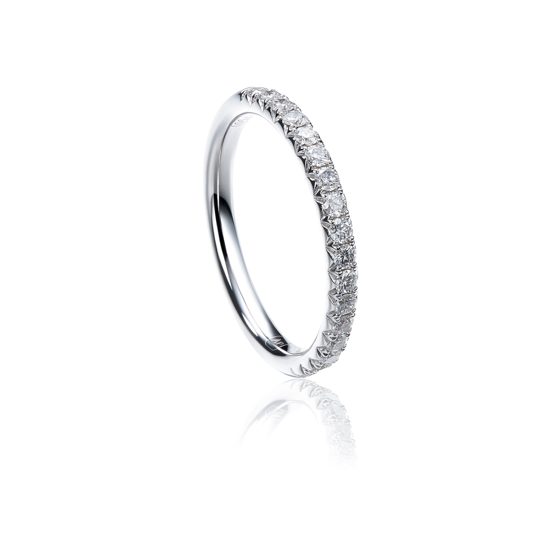 V Shape Pavé Half Eternity Diamond Ring Within 2017 V Shape Diamond Wedding Bands (Gallery 12 of 25)