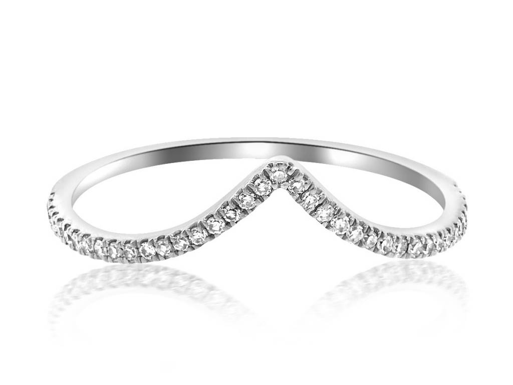 V Shaped Pave Diamond White Gold Ring Regarding Current V Shape Diamond Wedding Bands (Gallery 13 of 25)