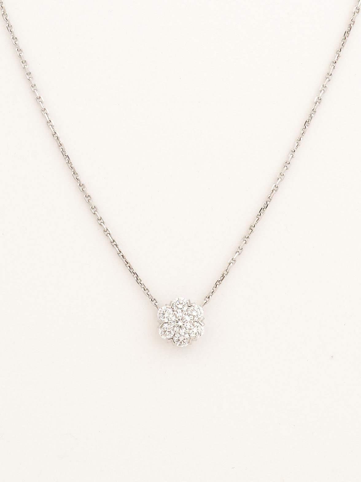 Van Cleef & Arpels 18k White Gold Small Fleurette Diamond For Latest Small Diamond Necklaces (View 8 of 25)