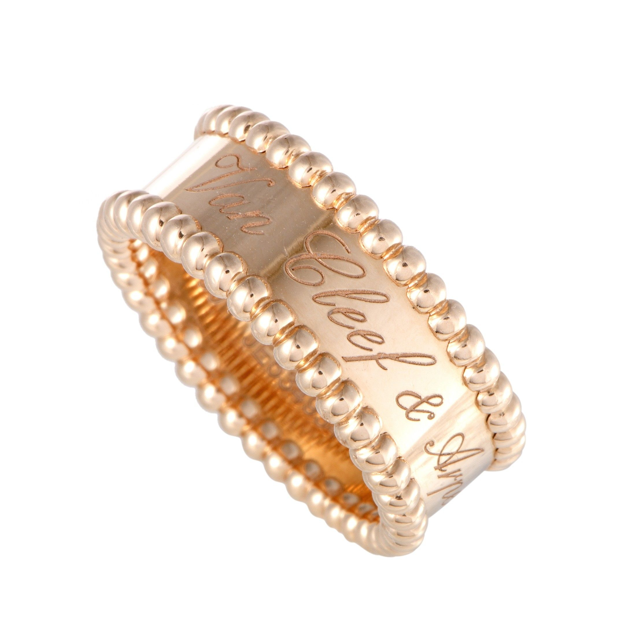 Van Cleef & Arpels Perlée Signature 18K Rose Gold Band Ring With Regard To Current Signature Bands Ring (Gallery 4 of 25)