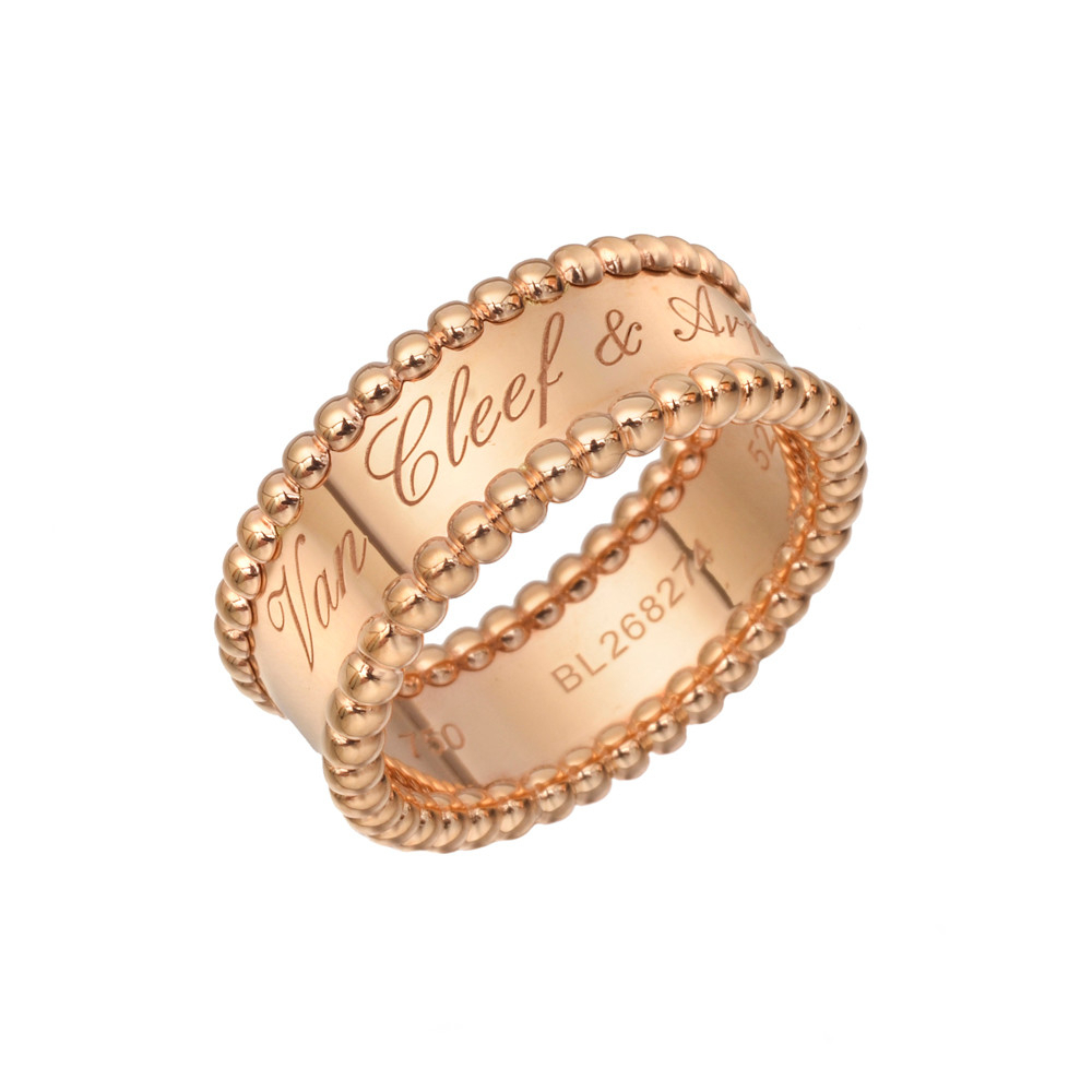 Van Cleef & Arpels Pink Gold Perlée Band Ring | Betteridge Inside Recent Signature Bands Ring (Gallery 22 of 25)