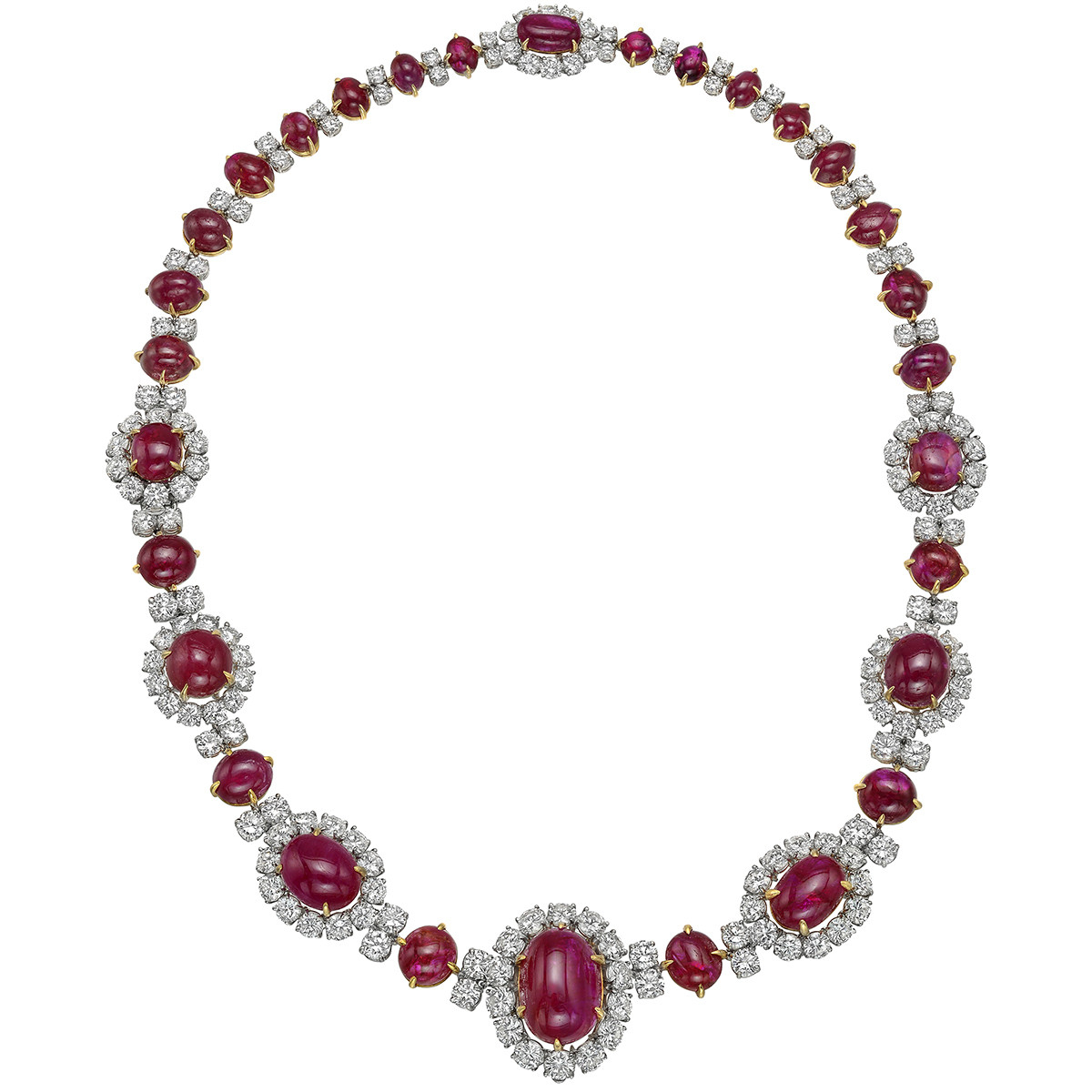 Van Cleef & Arpels Ruby Diamond Cluster Necklace | Betteridge Intended For 2020 Ruby And Diamond Cluster Necklaces (View 17 of 25)