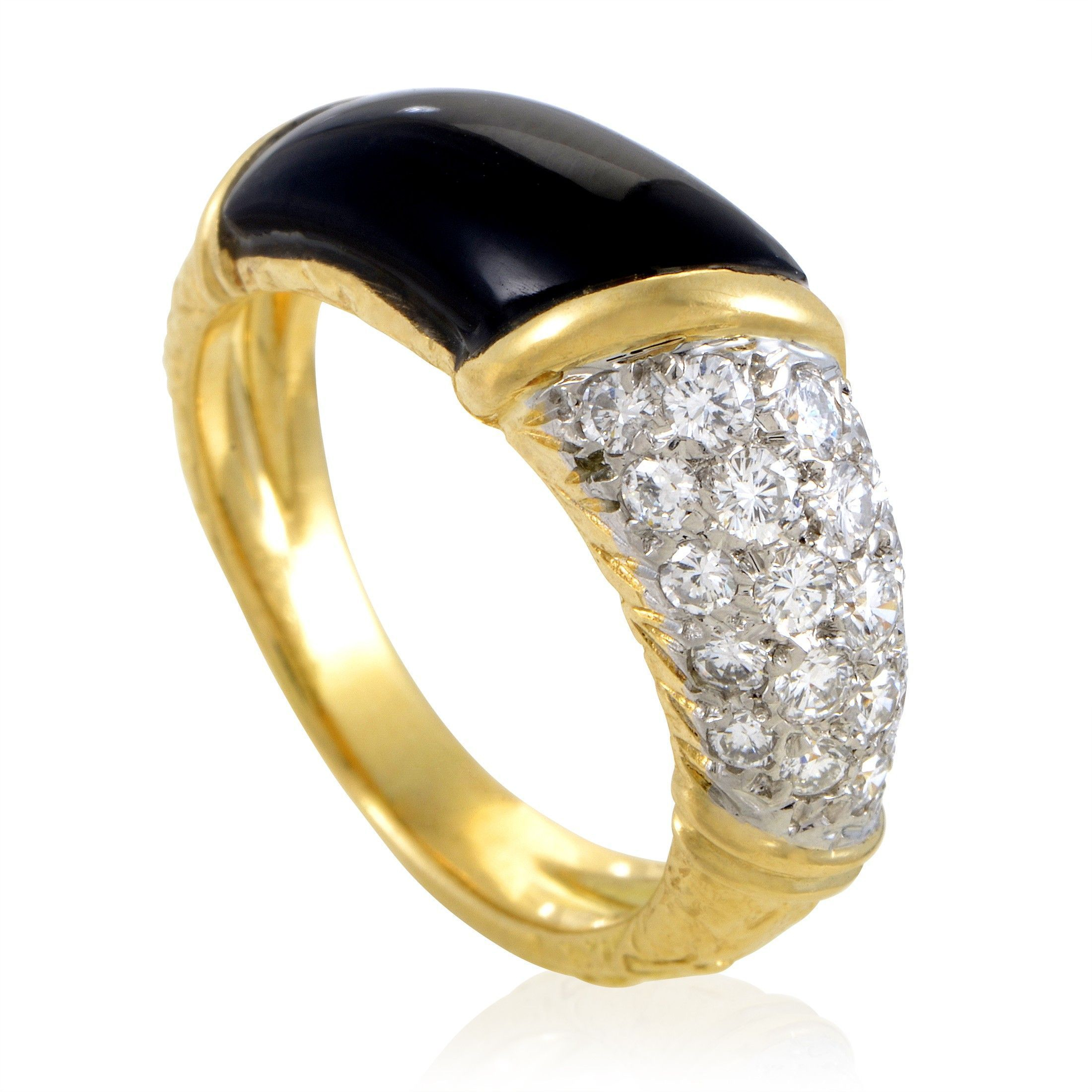 Van Cleef & Arpels Women's 18K Yellow Gold Partial Diamond Pave & Onyx Band  Ring Throughout 2018 Partial Micropavé Diamond Wedding Bands (View 25 of 25)