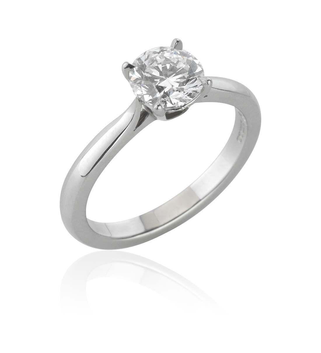 Victoria Platinum Single Stone Four Claw Set Round Brilliant Cut Diamond  Ring Pertaining To Round Brilliant Diamond Engagement Rings (View 20 of 25)