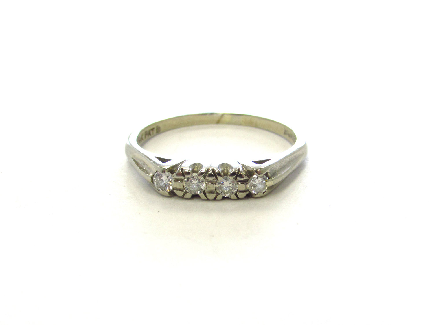Vintage 14K White Gold 4 Stone Diamond Anniversary Band Or Wedding Ring,  Size 7 For 2018 Diamond Voilà Wedding Bands (Gallery 24 of 25)