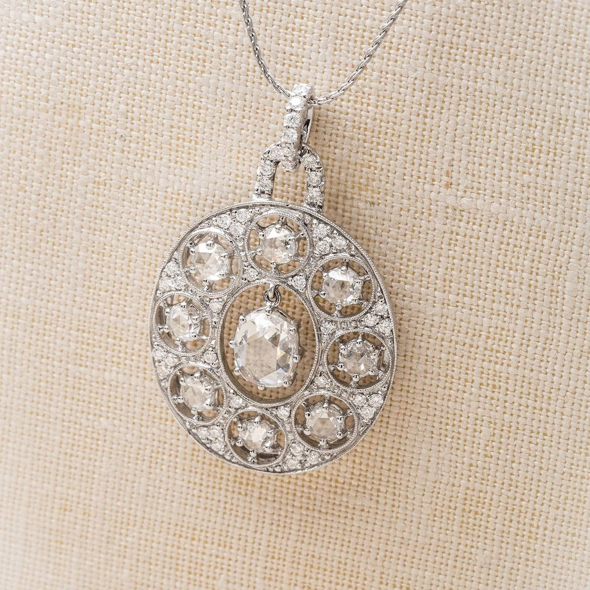 Vintage 18K Gold And Rose Cut Diamond Pendant With Regard To Most Up To Date Round Brilliant Diamond Straightline Necklaces (View 25 of 25)