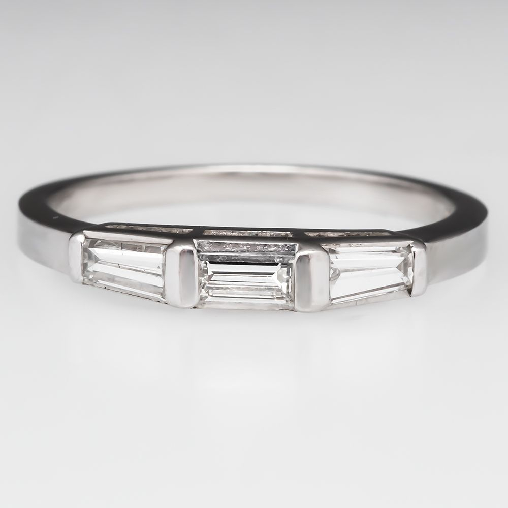 Vintage Tapered Baguette Diamond Wedding Band Ring Platinum Regarding Most Recently Released Baguette Cut Single Diamond Wedding Bands (Gallery 6 of 25)