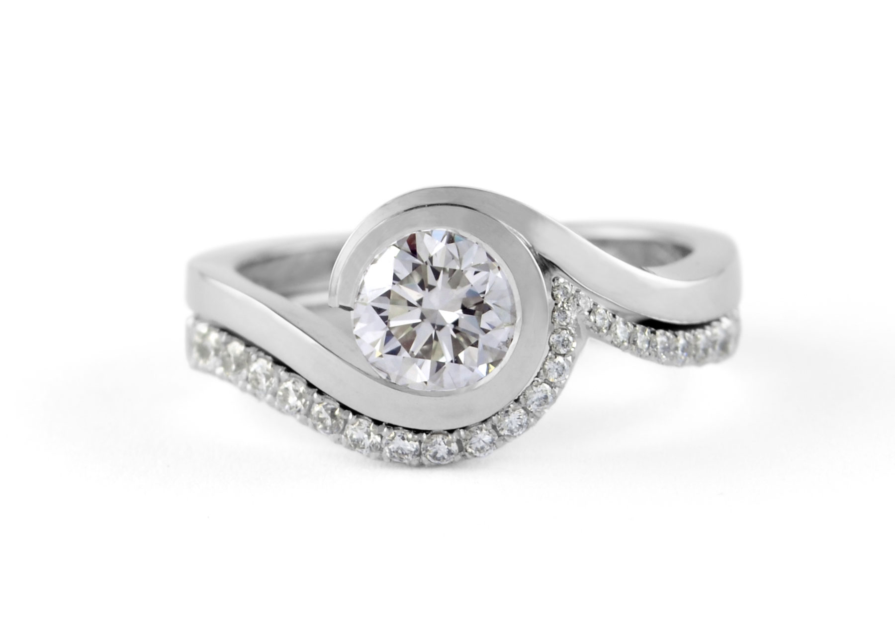 Wave Engagement Rings – Mccaul Goldsmiths With Newest Wave Diamond Wedding Bands (View 7 of 25)
