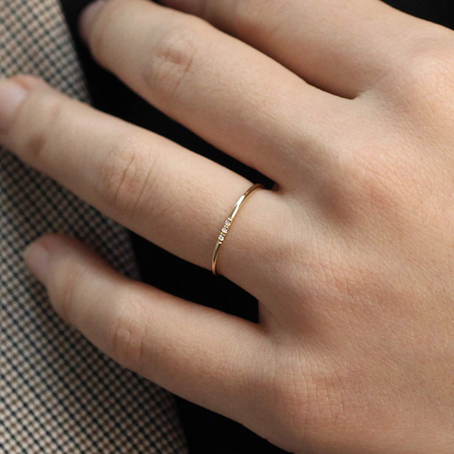 Wedding Ring : Minimalist Diamond Solid Gold Band Row Pave Inside Most Current Micropavé Diamond Narrow Wedding Bands (View 16 of 25)