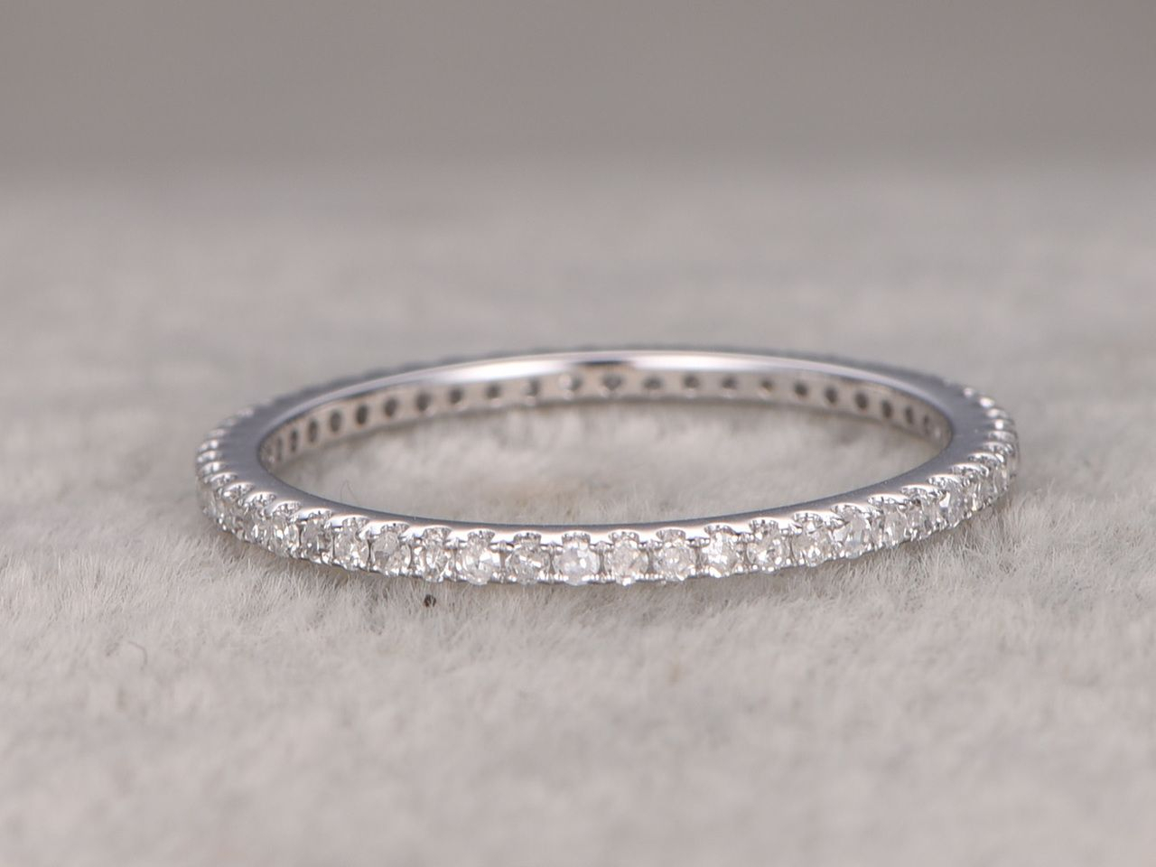 White Gold Diamond Wedding Rings For Her Thin Pave Full Regarding Most Recent Full Micropavé Diamond Wedding Bands (View 5 of 25)