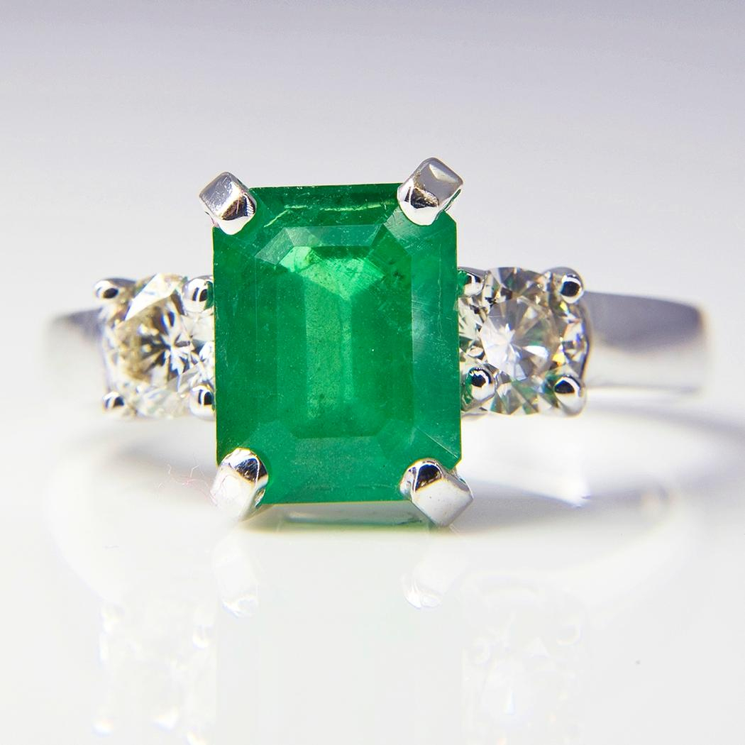White Gold Emerald And Diamond Three Stone Ring ~ Todays Cargo For Emerald And Diamond Three Stone Rings (View 5 of 25)