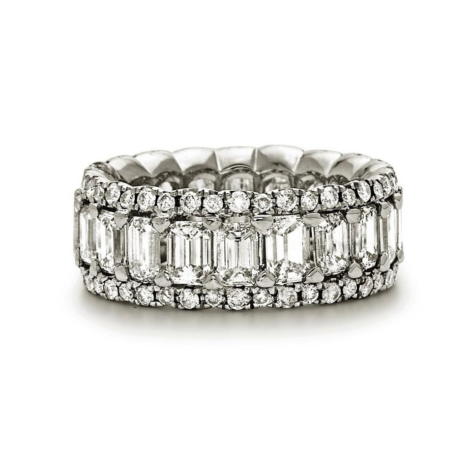 White Gold Platinum Round & Emerald Cut Diamond Eternity Band Prong Set (View 25 of 25)