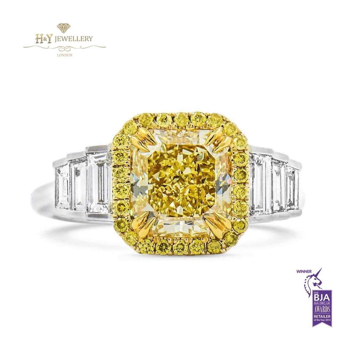 White Gold Radiant Cut Fancy Yellow Diamond Ring –  (View 22 of 25)