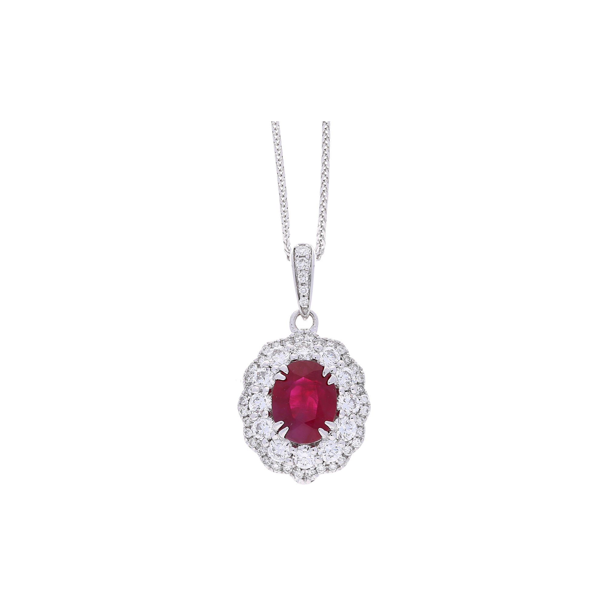 Winsor Bishop Ruby Oval Diamond Cluster Pendant Without Chain With Regard To 2019 Ruby And Diamond Cluster Necklaces (View 25 of 25)