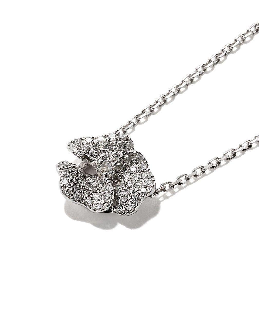 Women's Metallic 18kt White Gold Roselia Flower Medium Diamond Necklace With Latest Medium Diamond Necklaces (View 19 of 25)