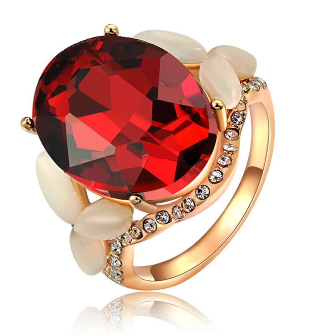 Womens Oval Shape Cut Red Zircon Engagement Wedding Rose Gold Ruby Ring Pave Crystal Opal Band Throughout Oval Shaped Ruby Micropavé Rings (View 10 of 25)