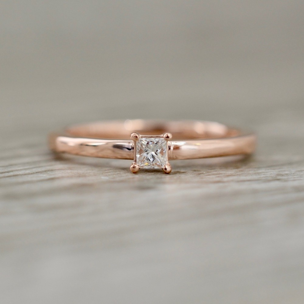 Women's Wedding Bands Inside 2017 Princess Cut Single Diamond Wedding Bands In Rose Gold (View 25 of 25)