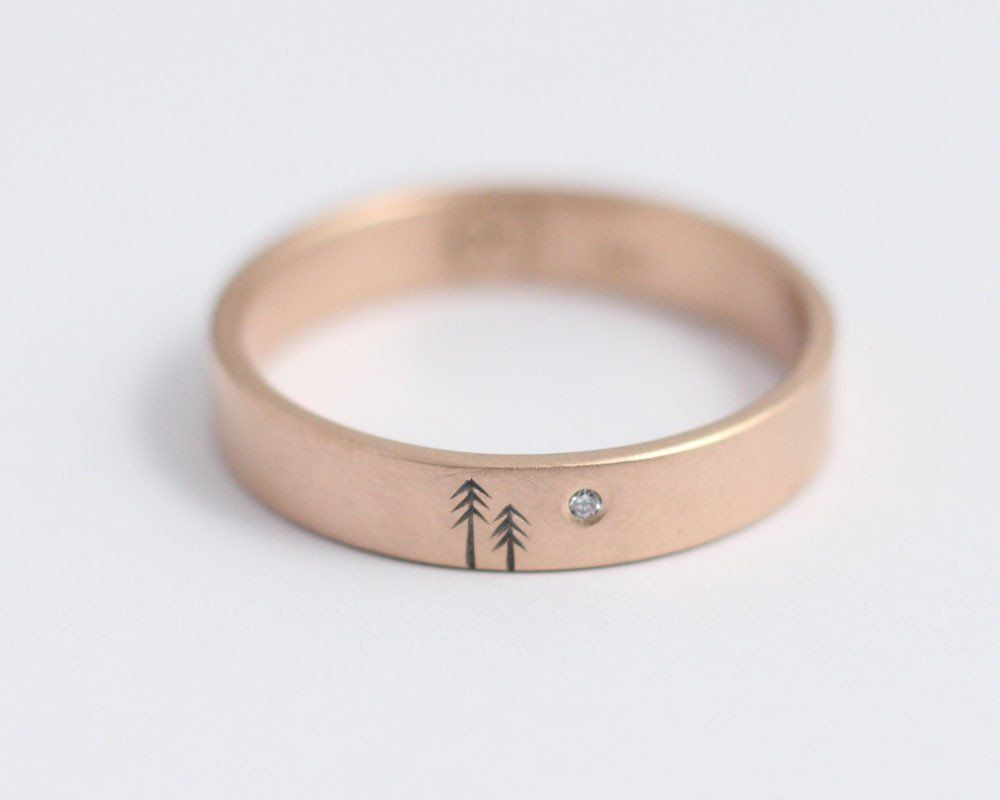 Woodland Ring With Single Diamond In Rose Gold – Medium Intended For Most Current Diamond Voilà Wedding Bands (View 11 of 25)