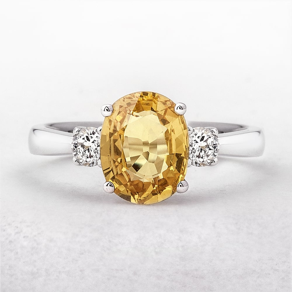 Yellow Sapphire & Diamond Ring With Oval Shaped Yellow Diamond Rings (View 14 of 25)