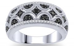 Enhanced Black and White Diamond Vintage-style Anniversary Bands in Sterling Silver