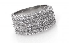 Diamond Five Row Anniversary Rings in White Gold