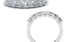 Ladies Princess-cut Diamond Seven Stone Anniversary Bands in White Gold