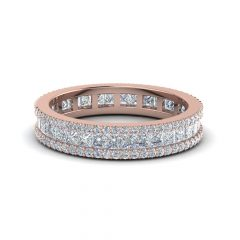 Diamond Three Row Anniversary Bands In Rose Gold