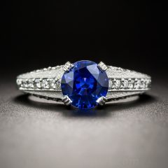 Vintage Style Diamond And Sapphire Engagement Rings