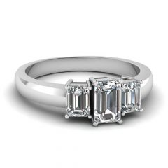 3 Stone Emerald Cut Diamond Engagement Rings