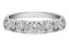 Diamond Five Stone Bar-set Anniversary Bands in White Gold