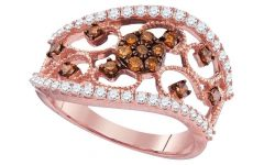 Enhanced Cognac Diamond Vintage-style Anniversary Bands in Rose Gold