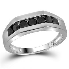 Enhanced Black Diamond Anniversary Bands In 10K White Gold