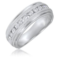 Mens White Gold Wedding Bands With Diamonds
