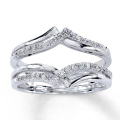 Diamond Contour Solitaire Enhancers In 14K White Gold