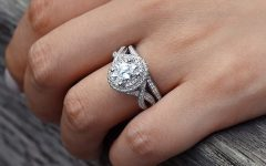 Oval Diamond Double Frame Twist Vintage-style Bridal Rings in 14k White Gold