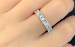 Prong-set Emerald-cut Diamond Wedding Bands