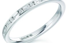 Channel-set Round Brilliant and Baguette-cut Diamond Wedding Bands