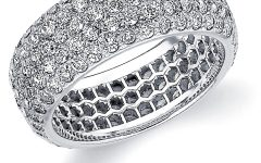 Certified Diamond Five Row Anniversary Bands in White Gold