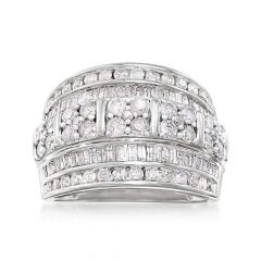 Baguette And Round Diamond Multi-Row Anniversary Ring In White Gold
