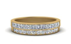 Diamond Two Row Anniversary Rings in Gold