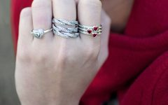 Sparkling Red Heart Rings