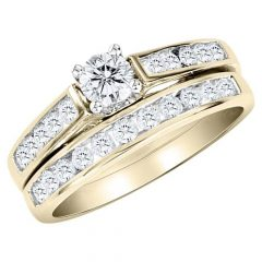 Gold Engagement And Wedding Rings Sets