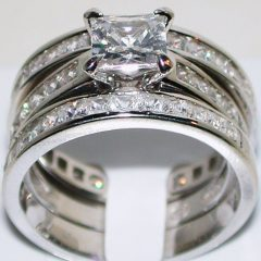 Wide Band Wedding Rings Sets