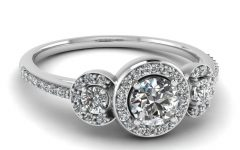 3 Stone Halo Engagement Ring Settings