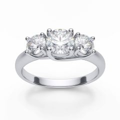 White Gold 3 Stone Engagement Rings