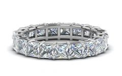 Certified Princess-cut Diamond Anniversary Bands in White Gold