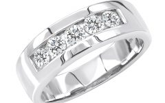 "Diamond Accent Five Stone ""s"" Anniversary Bands in White Gold"