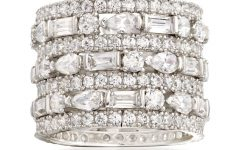 Baguette and Round Diamond Alternating Multi-row Anniversary Bands in White Gold