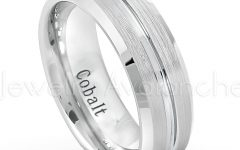 Satin Center Grooved Edge Wedding Band in Cobalt