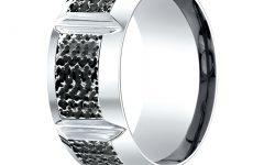 Diamond Cobalt Three Stone Hammered Rings